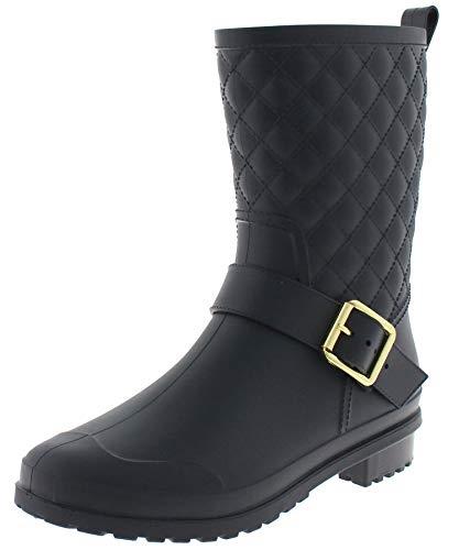 Capelli New York Ladies Matte, Quilted Shaft Mid-Calf Rain Boot with Ankle Strap Black ()