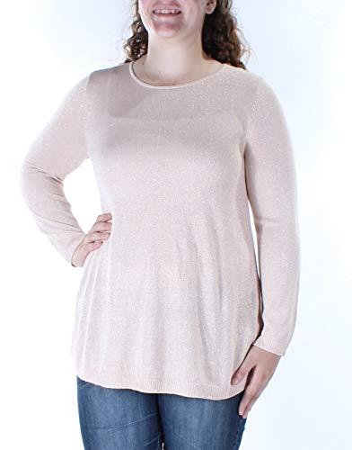 Alfani Womens Metallic Knit Pullover Top Pink XL