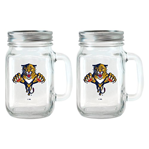 NHL Florida Panthers Glass Mason Jar with Lid, 16-ounce, 2-Pack