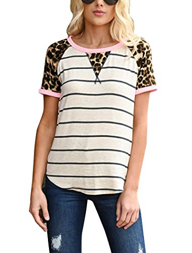 Hilltichu Women's Leopard Stripe Short Sleeve Tees T-Shirt Casual Round Neck Tops (Small, ()