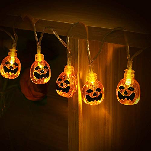 YUNLIGHTS Halloween String Lights, 13ft 30LEDs 3D Jack-O-Lantern Pumpkin Lights with Remote Control, 8 Modes Battery Operated Outdoor Halloween Lights, Warm White by YUNLIGHTS