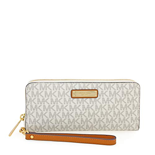 Michael Michael Kors Womens Michael Kors Jet Set Signature Travel Wristlet, White