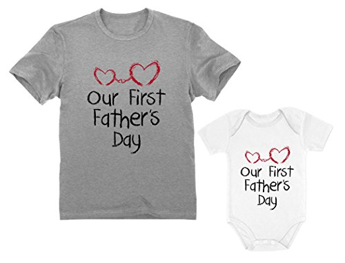 Our First Father's Day Dad & Baby Matching Set Infant Bodysuit & Men's T-Shirt Dad Gray Medium/Baby White 12M (6-12M)