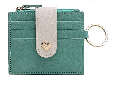 Heart Girl Wallet (Girls Leather Peach Heart Thin Wallet Card Zipper Wallets with Key Chain)