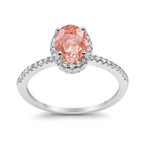 - Blue Apple Co. Halo Fashion Ring Oval Simulated Morganite Round CZ Accent 925 Sterling Silver, Size-8