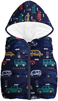 Londony▼ Little Boys Vests Outerwear Cute Car Print Faux Fur Jacket Warm Winter Hooded Clothes Dark Blue