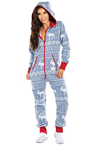Tipsy Elves Women's Christmas Onesie Pajamas - Grey Moose Holiday Adult Jumpsuit: Large
