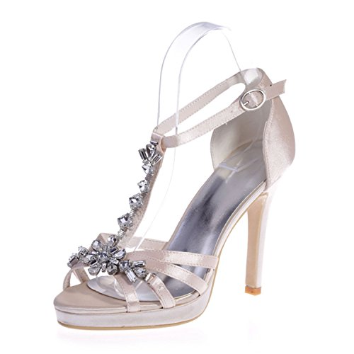 Women's Open Heel Stiletto Champagne Ellenhouse Pumps EH057 Rhinestone Crystal Shoes Toe ZqdwZXUn