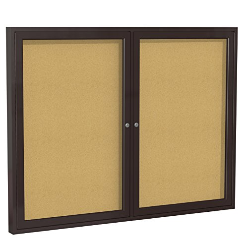 Ghent 36''x48''   2-Door indoor Enclosed Bulletin Board , Shatter Resistant, with Lock, Bronze Aluminum Frame  - Natural Cork (PB23648K)  Made in the USA by Ghent