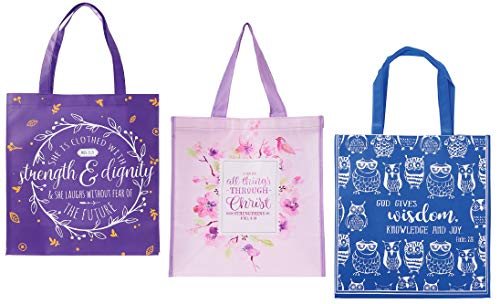 3 Religious Themed Inspirational Tote Bags for Women Bundle | Purple, Pink and Blue | By Christian Art Gifts - Girl Canvas Tote Bag Flower