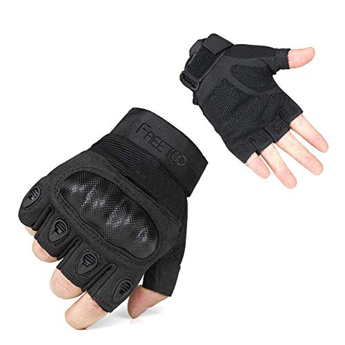 FREETOO Tactical Gloves Military Rubber Hard Knuckle Outdoor Gloves (Black Half Finger, L:9