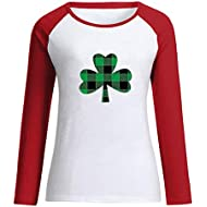 DealinM Lucky Letter Printed Graphic Shirt Women Shamrock St. Patrick Day Raglan 3/4 Sleeve Baseball Tee Tops