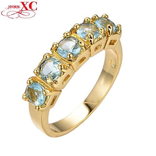 Yellow Gold 14kt Aqua Gem (GDSHOP Sale Fine Jewelry New Aquamarine AAA Zircon Lady's Wedding Finger Rings 14KT Yellow Gold Filled Ring Size 7/8/9/10 9.0)
