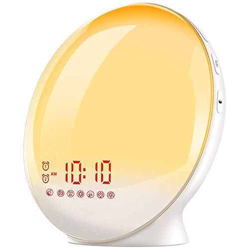 TITIROBA Wake-Up Light, Sunrise Simulation Alarm Clock, Sleep Aid Colored Bedside Light with FM Radio Dual Alarm Adjustable Lightness for Kids and Adults Bedroom (Set My Alarm For 5 30 Am)