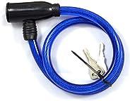 Cadeado Para Bicicleta Com Cabo De Aço Eda Azul 60cm