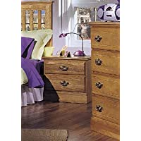 Carolina Furniture Works 232200 Night Stand with 2 Drawer, Golden Oak