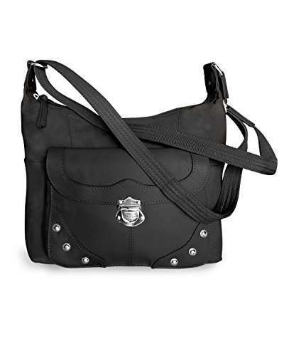 Concealed Carry Purse - Front Studded Pocket Leather Gun Purse - Left & Righthand Draw - CCW - by Roma Leathers (Black) ()