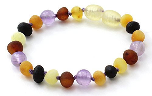 Unpolished Baltic Amber Teething Bracelet/Anklet Made with Amethyst Beads - Size 4.7 inches (12 cm) - Raw Multicolor Amber Beads - BoutiqueAmber (4.7 inches, Raw Multi/Amethyst)