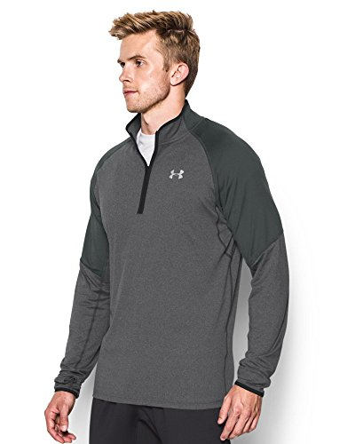 Under Armour Men's No Breaks Run 1/4 Zip, Carbon Heather/Carbon Heather, Small by Under Armour (Image #2)