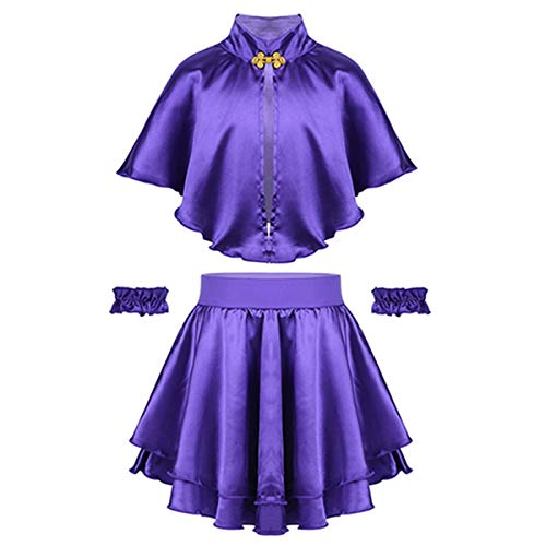 inhzoy Kids Girls' Greatest Showman Anne Wheeler Costume Cape Top with Skirt and Wristband for Halloween Role Play Party Purple -