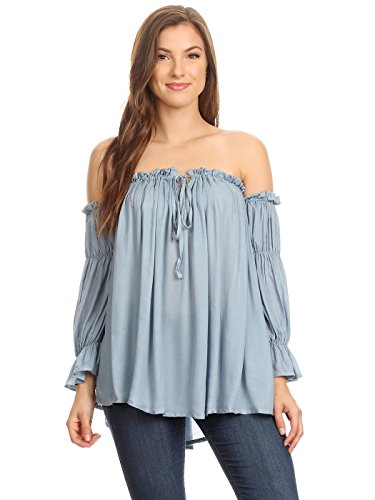 Off The Shoulder Peasant Top - Anna-Kaci Womens Semi Sheer Boho Peasant Long Sleeve Off The Shoulder Top, Blue, Large