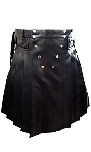 LKT Mens Real Black Leather Gladiator Pleated Utility Kilt Flat Front Pocket Wrap (K10-BLK) W40 X -