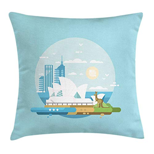 Lunarable Australia Throw Pillow Cushion Cover, Modernistic Landmarks Doodle of Sydney City Famous Opera House and Kangaroo, Decorative Square Accent Pillow Case, 24