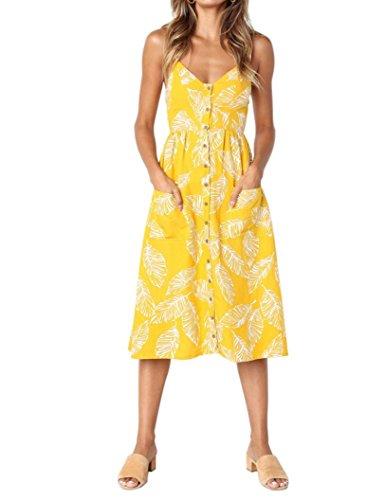 Vestidos Mujer Casual,Mujeres Vacaciones Rayas Damas Verano Playa Botones Vestido de Fiesta LMMVP F