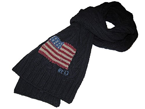 (Polo Ralph Lauren Mens Lambswool Blend USA Cable Knit Scarf)