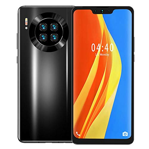Dual Cards Dual Standby Smartphone, 6+64G QuadCore Unlocked GSM Cell Phone, Face Identification Built-in 4800mAh Battery for Android 9.1 Black(US)