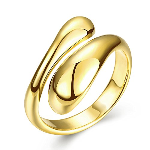 MAOHAO Lovely Fashion Chic Design 18K Gold/Rose Gold/White Gold Elongated Teardrop Spoon Open Adjustable Ring (Gold)
