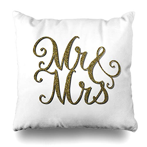 (Ahawoso Throw Pillow Cover Square 20x20 Inches Royal Topper Words Mr Gold Effect Cake Wedding Charm Congratulation Cut Design Wood Zippered Cushion Pillow Case Home Decor Pillowcase)