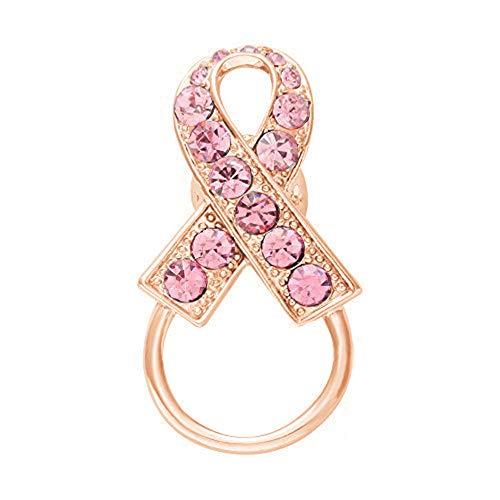 NOUMANDA Pink Crystal Ribbon Breast Cancer Awareness Magnetic Eyeglass Holder Safety Magnetic Brooch (Rose Gold) ()