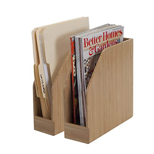 Bamboo Vertical File Folder Holder & Office Product Organizer, Store Files, Magazines, Notepads, Books and More, 2 Pack Combo Set