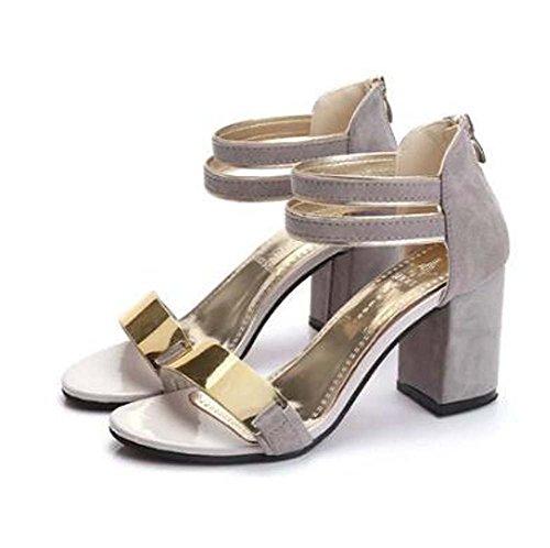 Zapatos de mujer PU Primavera Verano Club Zapatos Sandalias Tacón de cuña Abierta Hebilla del dedo del pie para Vestido Casual Negro Gris Rojo Gray