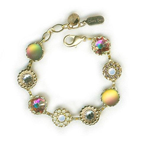 (Clara Beau Fabulous Vitrail Swarovski crystal GoldTone Filigree Cluster Bracelet BF142)