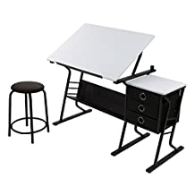 Studio Designs 13364 Eclipse Center Table with Storage Drawers, Black with White