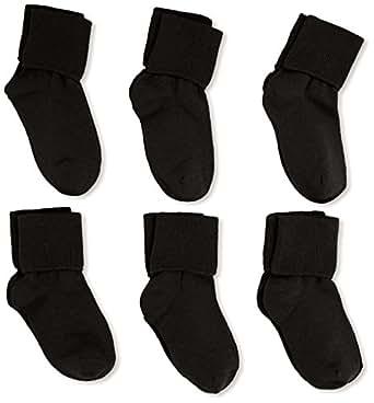 Jefferies Socks Little Girls'  Seamless Turn Cuff  Socks (Pack of 6), Black, Toddler