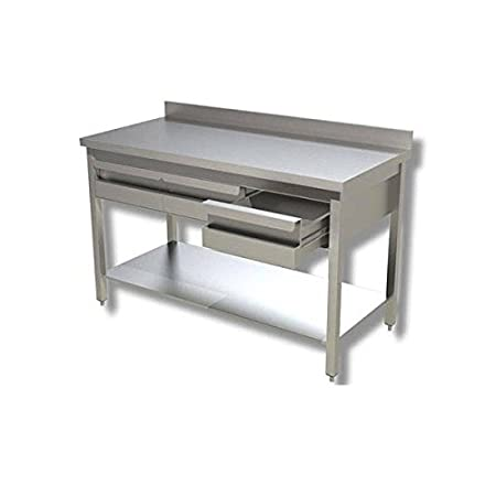 Mesa de acero inoxidable con estante + cajonera + Alzatina Dim. cm ...