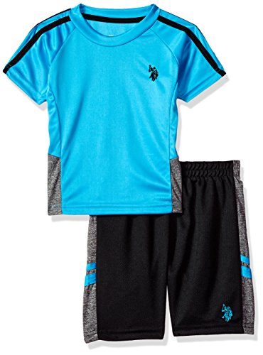 U.S. Polo Assn. Big Boys' T-Shirt and Mesh Short Set, Sleeve Stripe Turquoise, 10