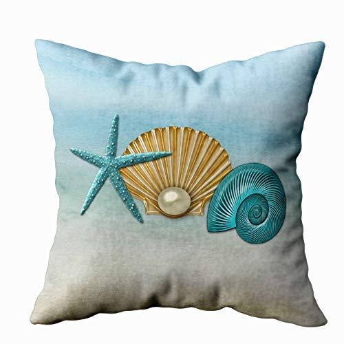 Musesh aqua gold assorted seashells beach accent Cushions