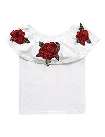 Little Girls Summer Off Shoulder Flouncing Ruffle Floral Blouse White Tops - Best White Blouse