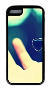 iPhone 5C Case and Cover Heart Pendant In The Hand Slim Fit SoftGel Flexible TPU Case for iPhone 5C - Black