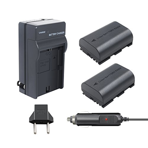 Bonacell 2 Pack 2600mAh Replacement Canon LP-E6 Battery and Charger Kit for Canon EOS 80D, 60D, 60Da, EOS 70D, EOS 5D Mark II, EOS 5D Mark III, EOS 5DS, EOS 5DS R, EOS 6D, EOS 7D, 7D Mark II Camera