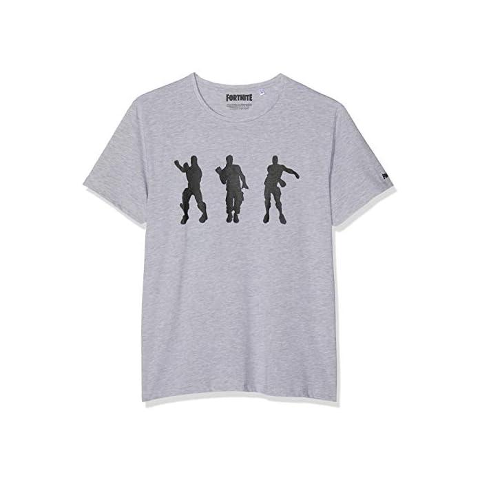 41XIJ2t8MHL Fortnite Floss Dance Gris camiseta Camiseta de 100% algodón con etiqueta oficial Fortnite 60% Algodón, 40% Poliéster