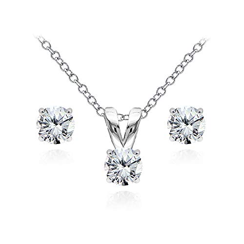 (Sterling Silver Cubic Zirconia 5mm Round Solitaire Pendant Necklace and Stud Earrings Set for Women)