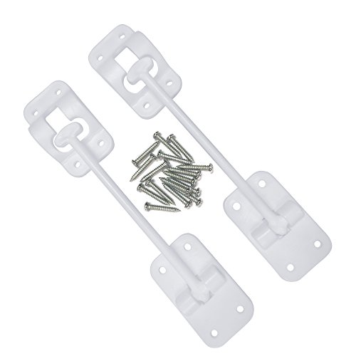 CampN-T-Style-6-Door-Latch-Holder-Catch-with-Hardware-for-RV-Trailer-Camper-Motor-Home-Cargo-Trailer-OEM-Replacement-White-2-Piece