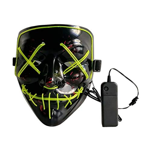 Scary Glowing Mask Halloween Cosplay Led Costume Mask EL Wire Light up for Halloween,Festival Party,Dance Ball, Rave Cosplay (Fluorescent Green) ()