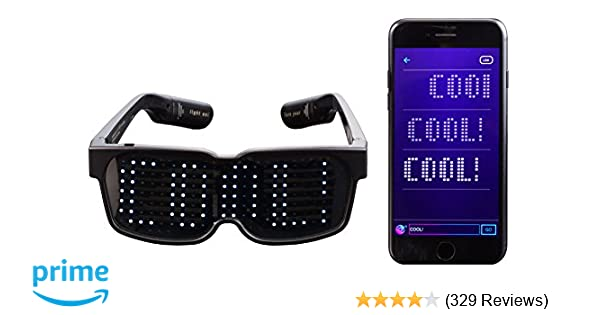 df4615b907 Amazon.com  CHEMION - Customizable Bluetooth LED Glasses for Raves ...