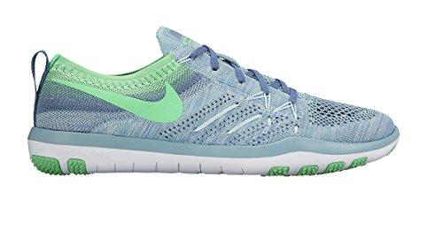 Womens Nike Free Focus Fly Knit Training ,6, Mica Blue/Electro Green-Ocean Fog-White